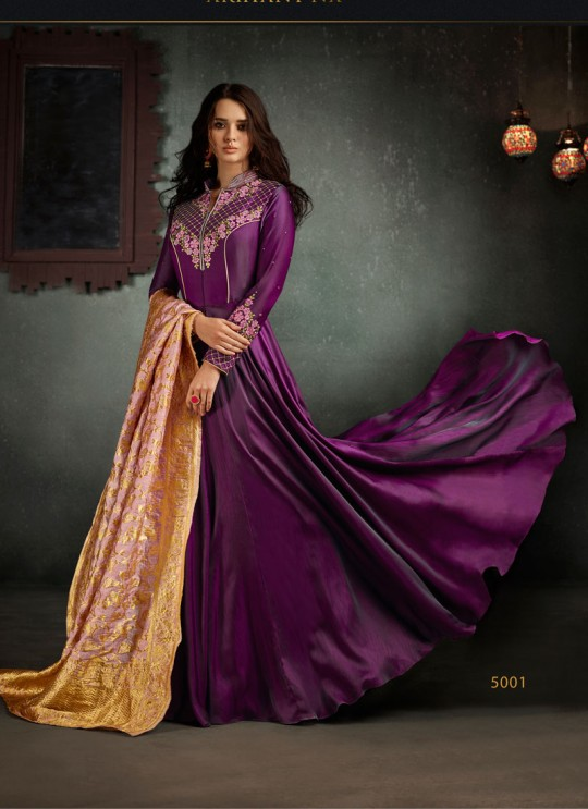 Violet Art Silk Embroidered Gown Style Suit  Rizwana 5001 By Arihant