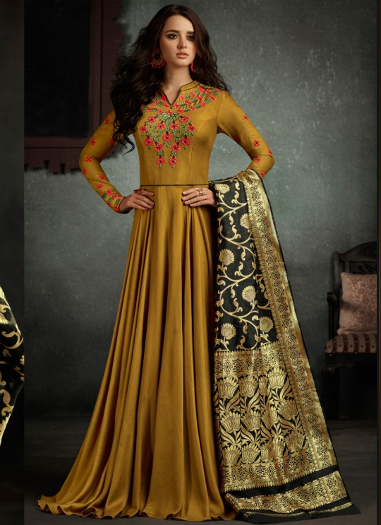 Mustard Art Silk Embroidered Gown Style Suit  Rizwana 5002 By Arihant