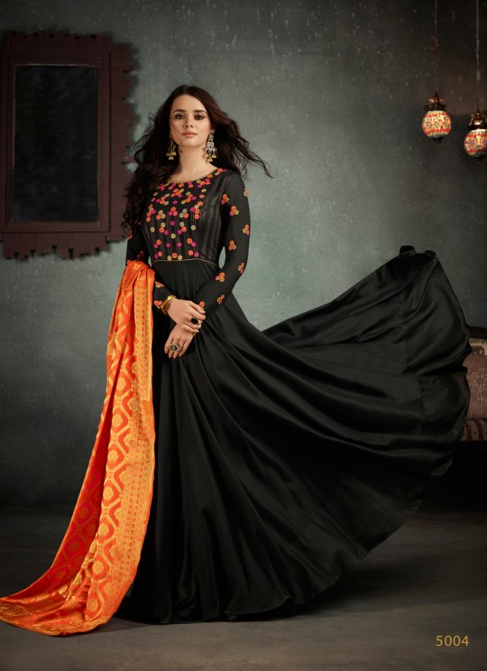 Black Art Silk Embroidered Gown Style Suit  Rizwana 5004 By Arihant