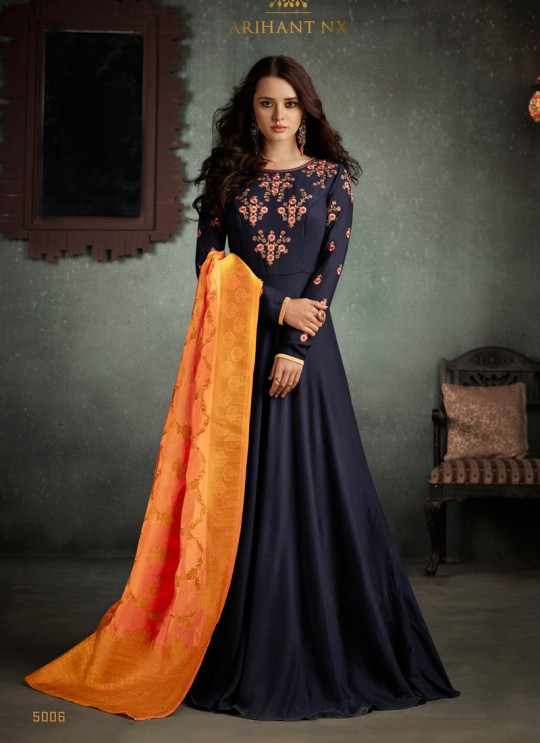 Blue Art Silk Embroidered Gown Style Suit  Rizwana 5006 By Arihant