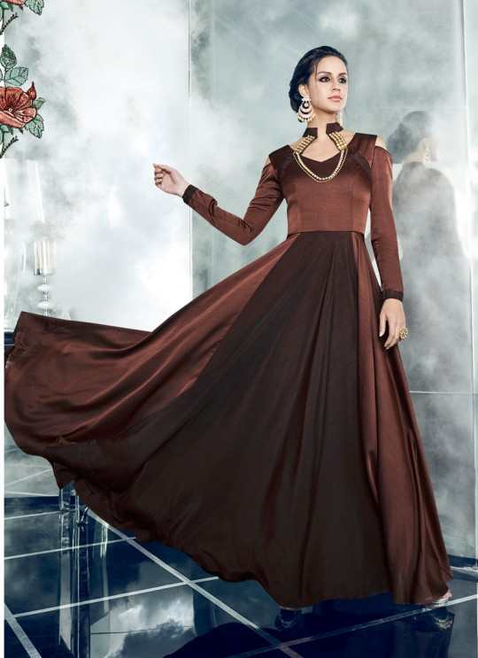 Brown Silk Satin Party Wear Kurti CHEERY 7003 By Arihant NX Size XL