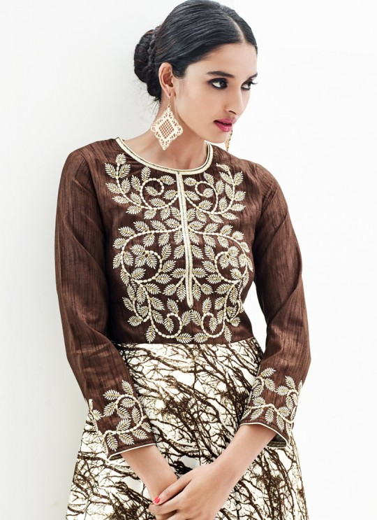 Brown Faux Georgette Embroidered Designer Kurti SASYA VOL 9  By Arihant