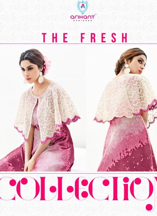 Pink Faux Georgette Embroidered Party Wear Kurti SASYA VOL 9  By Arihant