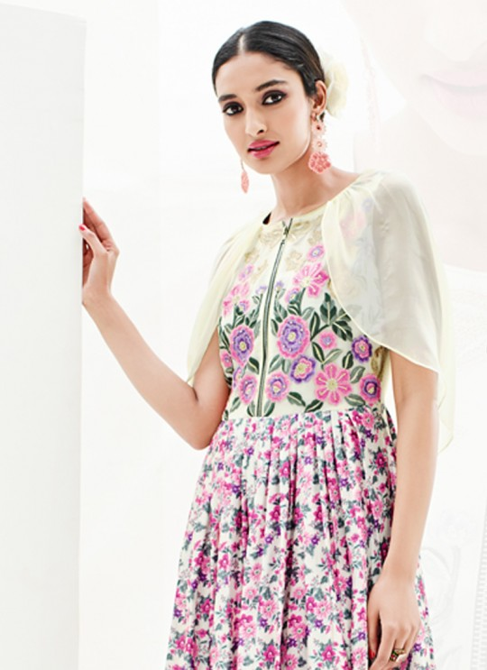 Multicolor Faux Georgette Floral Print, Embroidery  Party Wear Kurti SASYA VOL 9  By Arihant