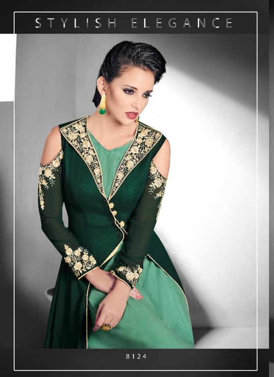 Green Faux Georgette Embroidered Designer Kurti SASYA VOL-14 NX 8124 By Arihant