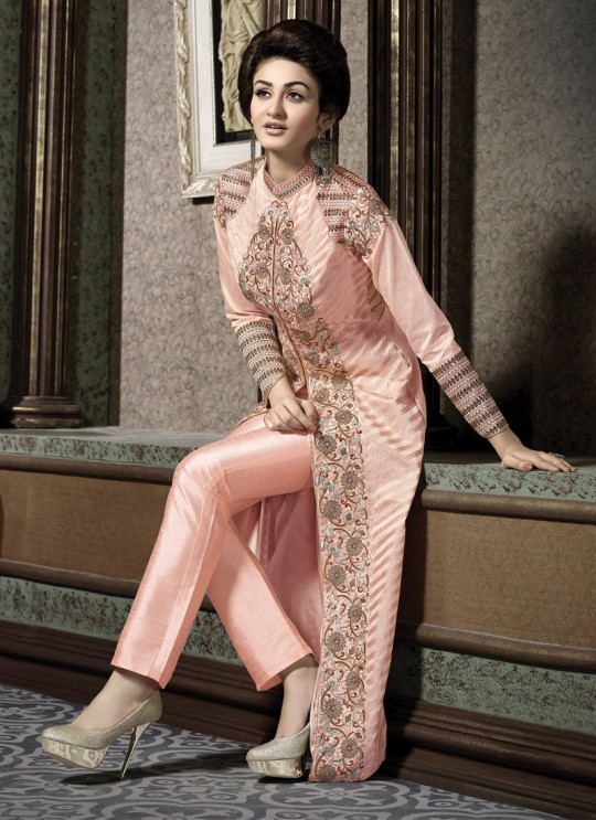 Peach Art Silk Embroidered Pant Style Suit HANIN VOL 3 10001 By Arihant