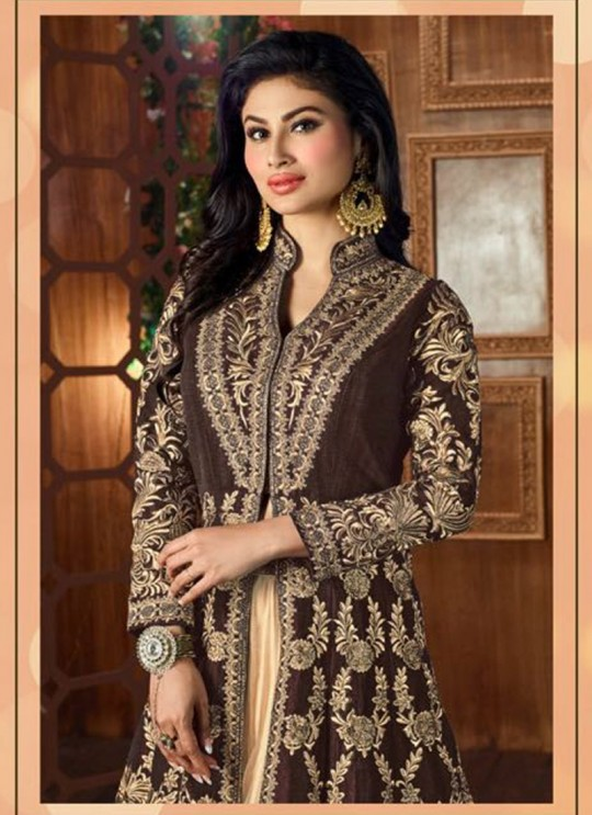 Brown Art Silk Embroidered Jacket Style Anarkali SASHI VOL 6 12052 By Arihant