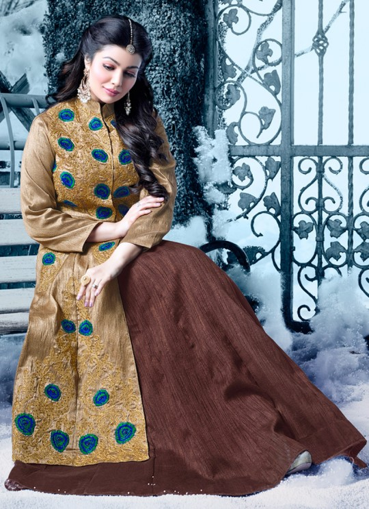 Beige N Brown Art Silk Embroidered Floor Length Anarkali HAMIM VOL 8 16025 By Arihant