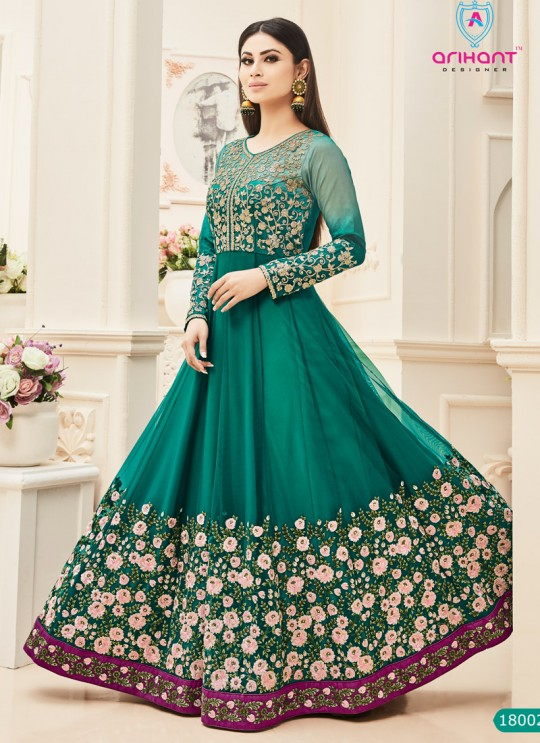 Green Net Embroidered Floor Length Anarkali ROSSELL VOL 2 18002` By Arihant