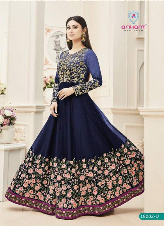 Blue Net Embroidered Floor Length Anarkali ROSSELL VOL 2 18002 Blue By Arihant
