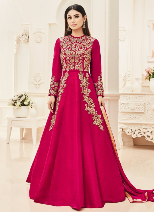 Magenta Silk Embroidered Floor Length Suit ROSSELL VOL 1 18004 By Arihant