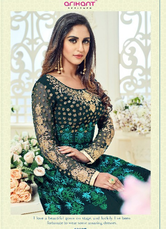 Green Georgette Embroidered Floor Length Anarkali ROSSELL VOL 2 18007 By Arihant