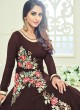 Coffee Faux Georgette Embroidered Floor Length Anarkali ROSSELL VOL 2 18012 Coffee By Arihant