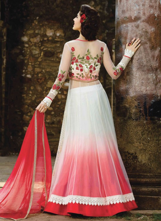 Off-white Net Embroidered Skirt Kameez MONARK 1602 By Bela Fashion