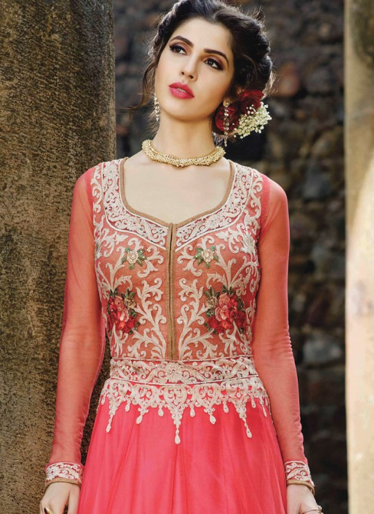 Pink Net Embroidered Floor Length Anarkali MONARK 1605 By Bela Fashion