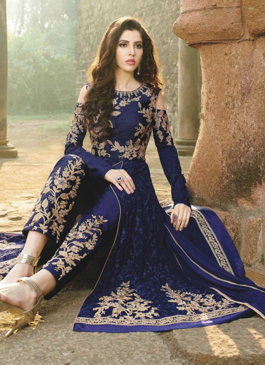 Blue Georgette Embroidered Floor Length Anarkali MONARK 1609 By Bela Fashion