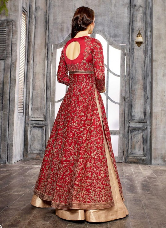 Maroon Silk Embroidered Skirt Kameez 1611-1619 1611 By Bela Fashion
