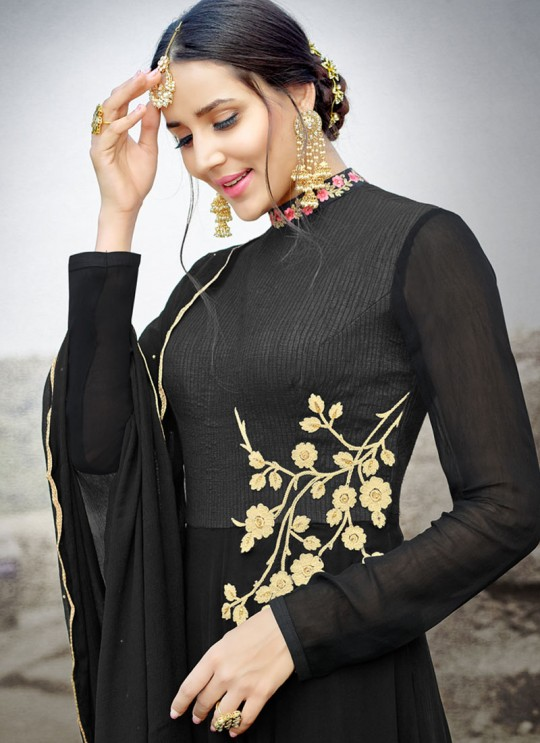 Black Silk Embroidered Gown Style Anarkali MEHZABEEN VOL-2 2497 By Bela Fashion