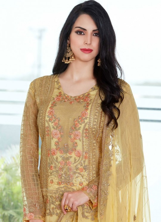 Gold Organza Embroidered Straight Suits MONARK 408 By Bela Fashion