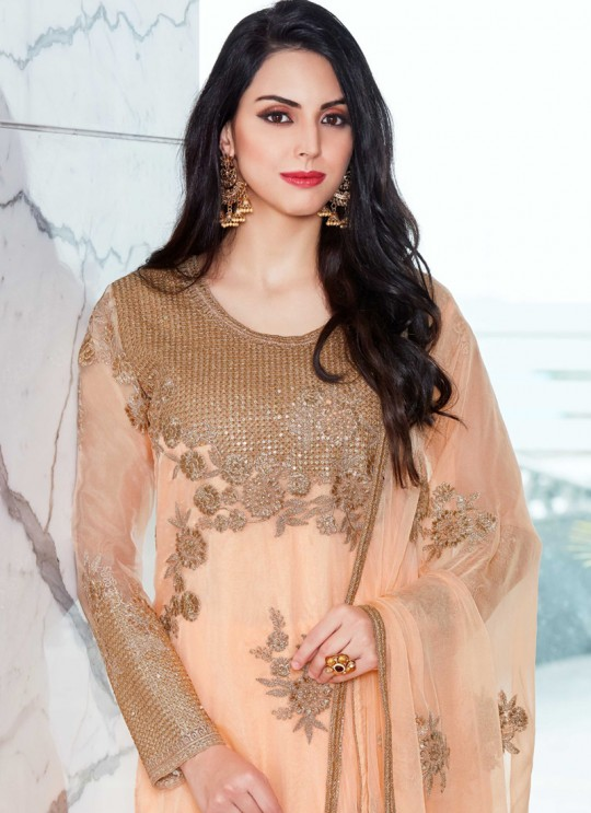 Peach Organza Embroidered Straight Suits MONARK 410 By Bela Fashion