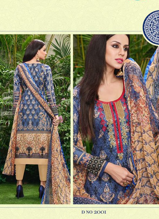 Blue Cotton Straight Cut Suit HOUSE OF COTTON 2001 By Deepsy
