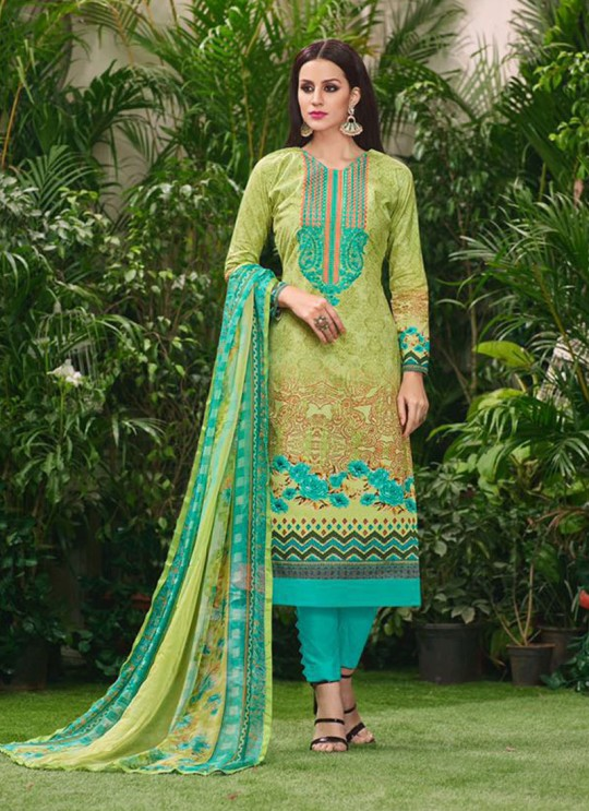 Green Cotton Straight Cut Suit HOUSE OF COTTON 2002 By Deepsy