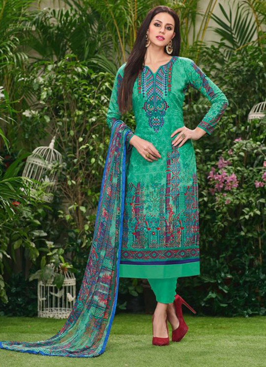Green Cotton Straight Cut Suit HOUSE OF COTTON 2005 By Deepsy