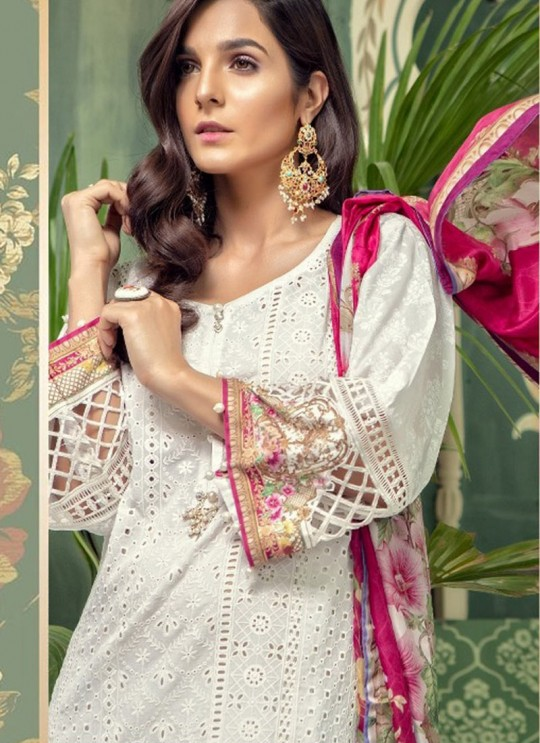 White Cotton Pakistani Salwar Kameez MARIA B-4 100801 By Deepsy