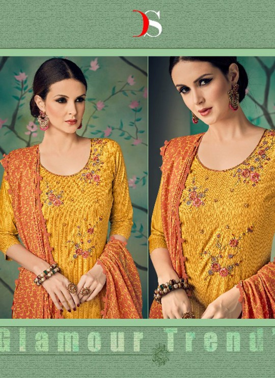 Yellow Cotton Straight Cut Suit BAGHBAN 15002 By Deepsy