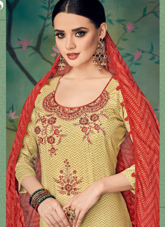 Beige Cotton Straight Cut Suit BAGHBAN 15003 By Deepsy