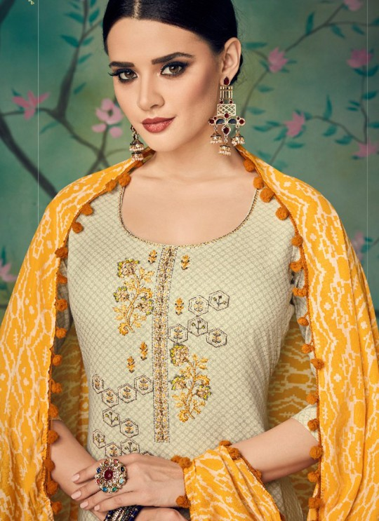 Cream Cotton Straight Cut Suit BAGHBAN 15005 By Deepsy