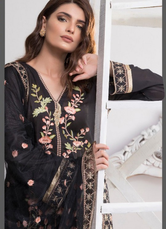 Black Cotton Pakistani Salwar Kameez FLORENT Vol-17 NX 200101 By Deepsy