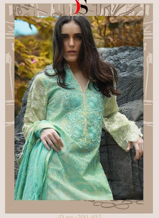Green Cotton Pakistani Salwar Kameez CREATION Vol-3 200402 By Deepsy