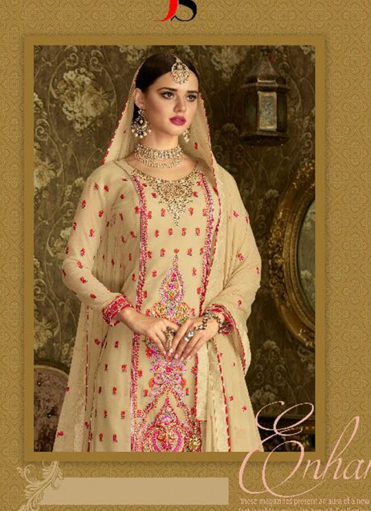 Beige Geoegette Pakistani Sharara Salwar Kameez DULHAN 2 BRIDEL COLLECTION 2004A Color By Deepsy