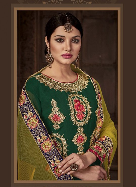 Green Geoegette Pakistani Palazzo Suit DULHAN-3 3004 By Deepsy