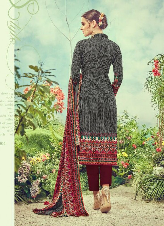 Grey Cotton Satin Straight Cut Suit DEEPSY FLORENCE Vol-3 83004 By Deepsy