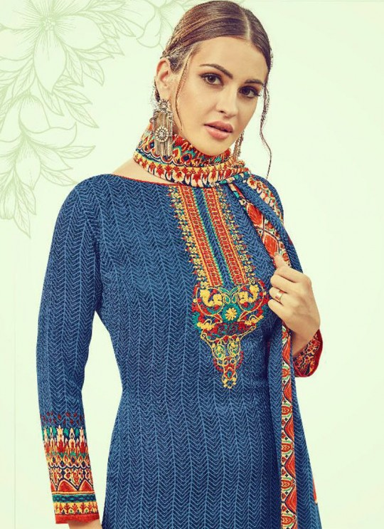 Blue Cotton Satin Straight Cut Suit DEEPSY FLORENCE Vol-3 83006 By Deepsy