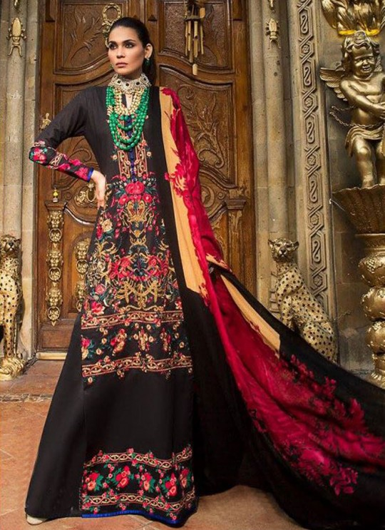 Black Jam Cotton Pakistani Salwar Kameez NAJIYA 94005 By Deepsy