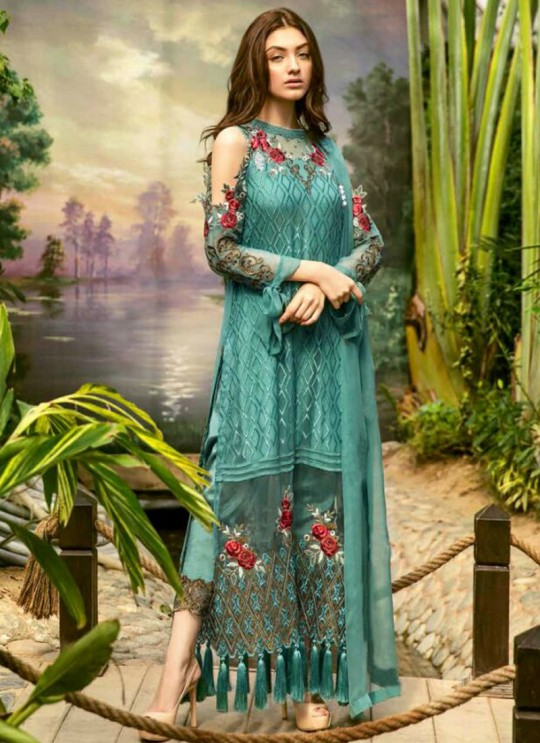 Teal Green Georgette Embroidered Pakistani Salwar Suit ROSEMEEN CLASSIC BY FEPIC 19001 TO 19006 SERIES Fepic 19001