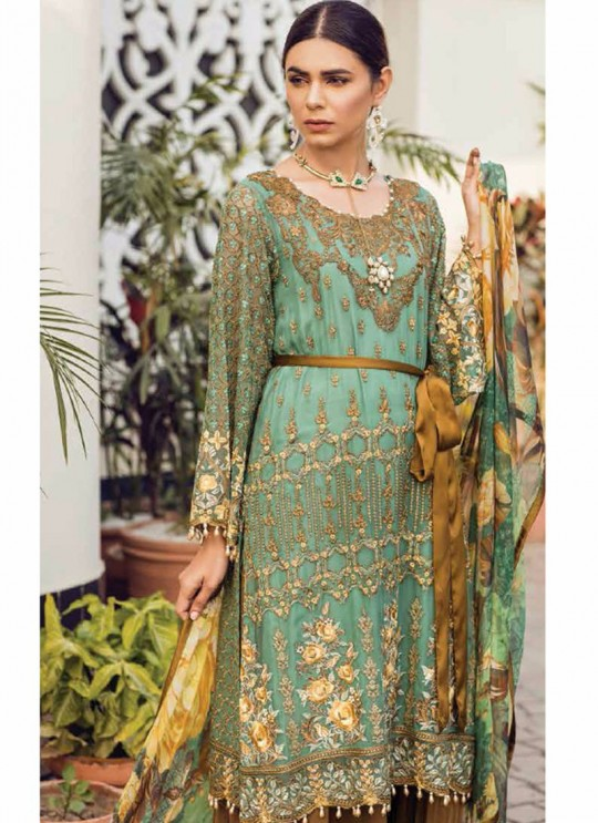 Sea Green Georgette Embroidered Pakistani Salwar Suit ROSEMEEN PEARLS BY FEPIC 21001 TO 21006 SERIES Fepic 21003