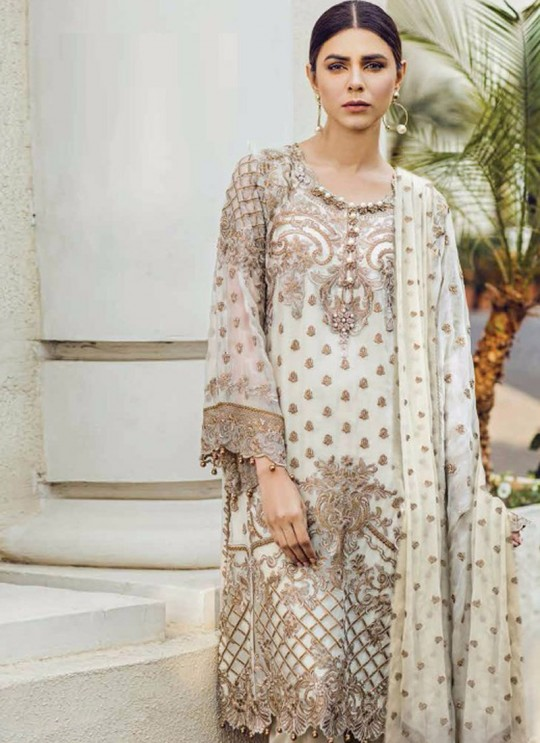 Off White Georgette Embroidered Pakistani Salwar Suit ROSEMEEN PEARLS BY FEPIC 21001 TO 21006 SERIES Fepic 21004