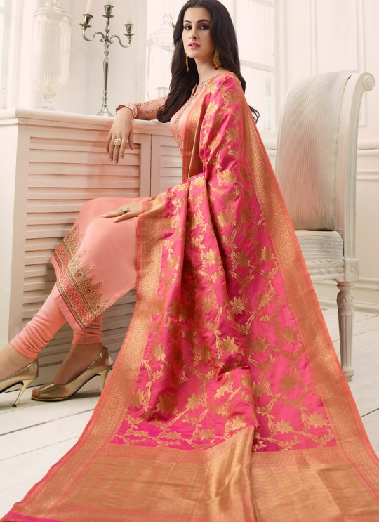 Peach Satin Georgette Straight Suit SIMAR SHABANA 12006 By Glossy Full Set