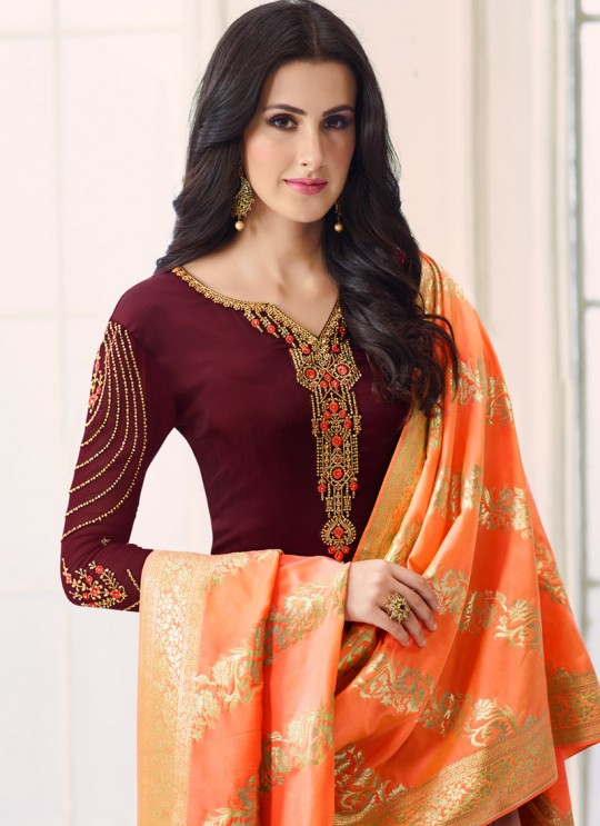 Wine Satin Georgette Straight Suit SIMAR SHABANA 12007 By Glossy