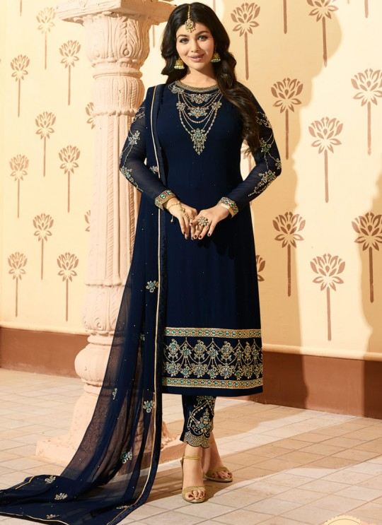 Blue Faux Georgette Pant Style Suit MINAZ Vol-2 226 By Glossy