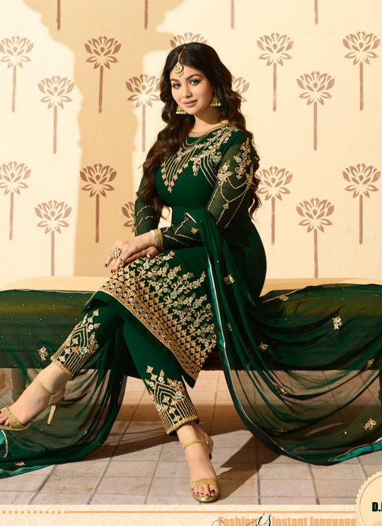 Green Faux Georgette Pant Style Suit MINAZ Vol-2 228 By Glossy