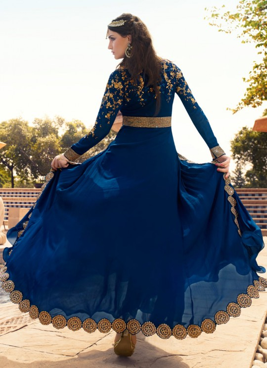 Blue Georgette Pant Style Suit Rhythm 7102 By Glossy