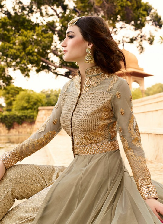 Beige Net Pant Style Suit Rhythm 7103 By Glossy