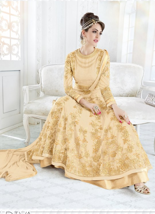 Cream Georgette Floor Length Anarkali BEAUTY SHADES 7209 Cream Color By Glossy
