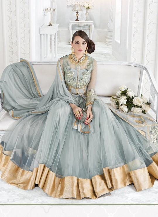 Grey Net Floor Length Anarkali SAPPHIRA 7212 By Glossy