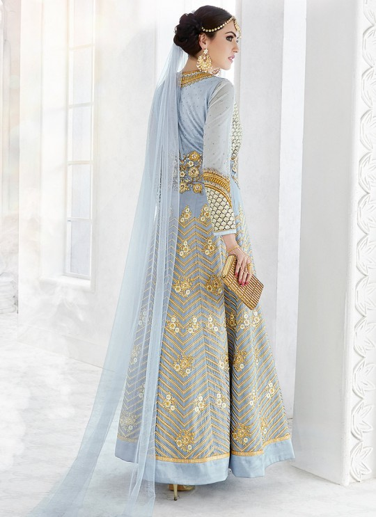 Grey Georgette Floor Length Anarkali SAPPHIRA 7217 By Glossy